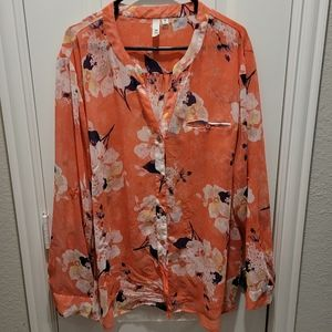 Kut From the Kloth Coral Floral Sinclair blouse
